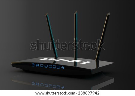 3d Modern WiFi Router on a black background - stock photo