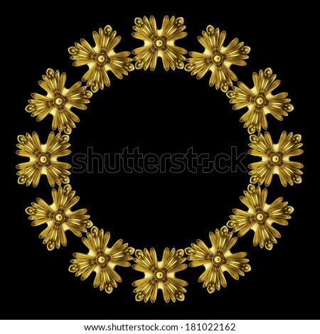 3d moldings made �¢??�¢??of gold on a black background - stock photo