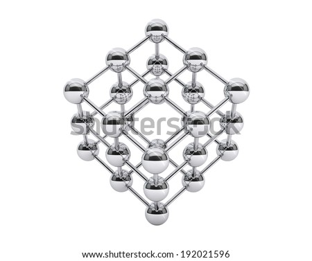 3d molecular structure as cube on a white background - stock photo