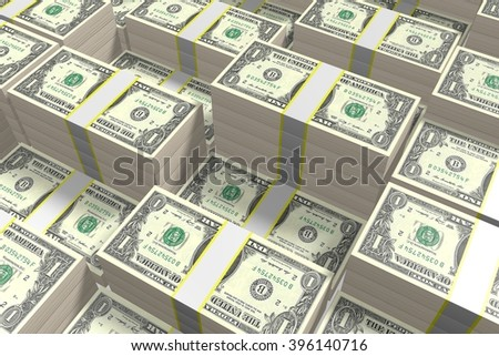 3D money concept - stacked US dollars.