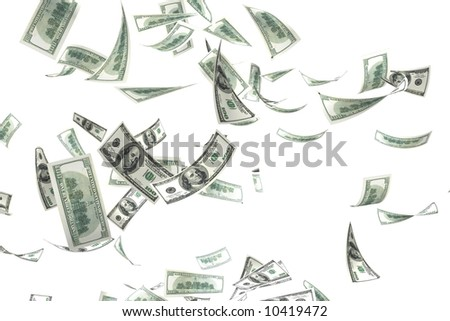 3d money falling in the white background - stock photo