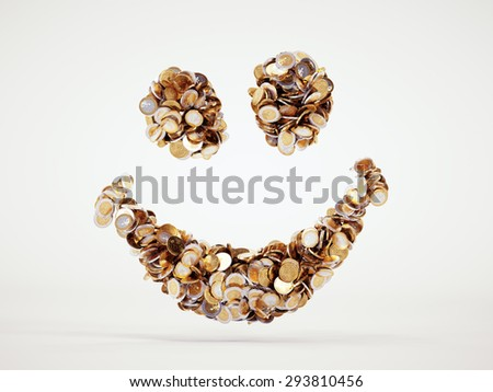 3d money smile sign with included clipping path - stock photo