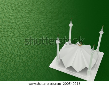 3D Mosque on Blue Arabesque Background - stock photo