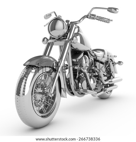 3D motorcycle isolated on white background - stock photo
