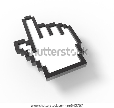 3d mouse cursor - hand version - stock photo