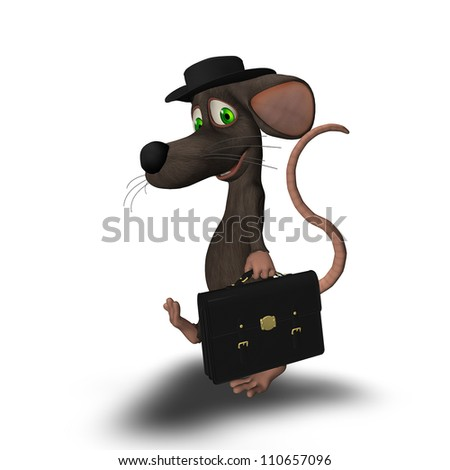 3D mouse with a hat and briefcase on his way to work -  isolated on a white background
