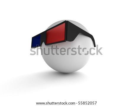 3D Movie. Human with 3D glasses isolated on white background. High quality 3d render. - stock photo
