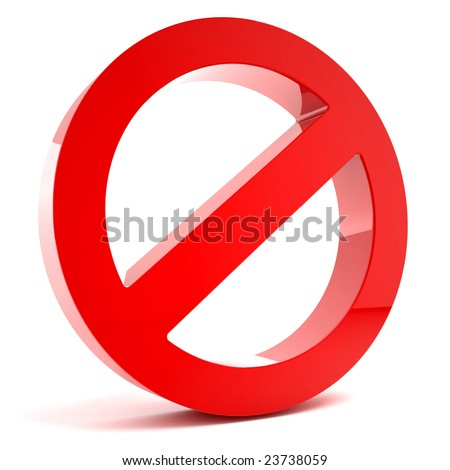 3D multi-use no admittance sign isolated on white