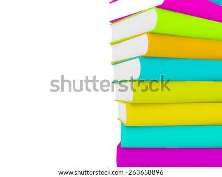 3d multicolored books, one over another - stock photo