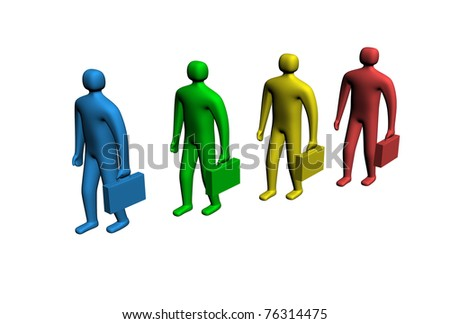 3d multicolored people holding briefcases - this is 3d illustration - stock photo