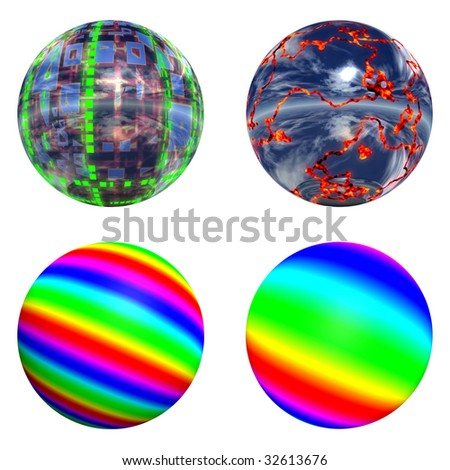3d multicolored spheres set or collection isolated on white,ideal for 3D symbols or web buttons. It has blue, green, yellow and red stripes. - stock photo