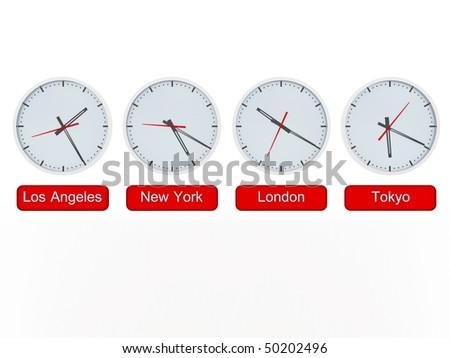 3d multiple region times - stock photo