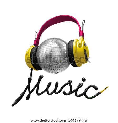 3d music concept isolated on white; headphones, disco ball and cord typographic design - stock photo