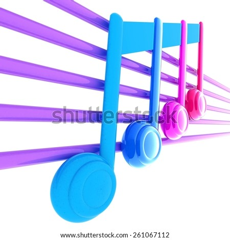 3D music note on staves - stock photo