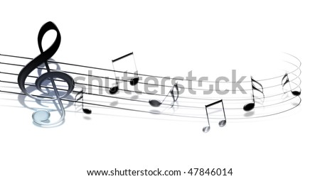 3d music notes isolated on white background - stock photo