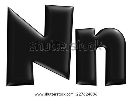 3D N alphabet with small later in black on isolated white background. - stock photo