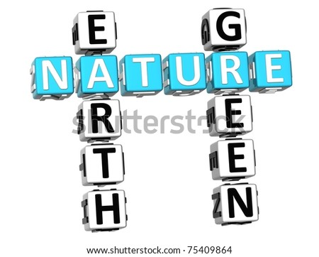 3D Nature Earth Green Crossword on white background