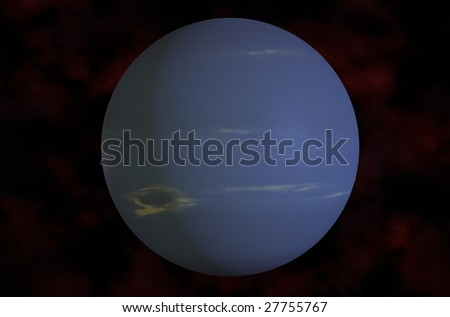 3d Neptune  Rendered On Galaxy Background