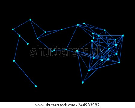 3d nerve plexus model on dark background - stock photo