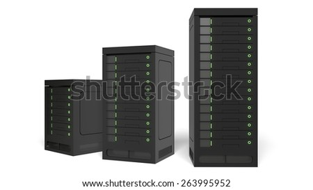 3D. Network Server, Internet, Data.