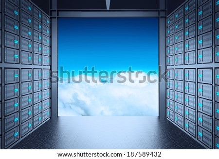 3d network server room and cloud outside as concept  - stock photo