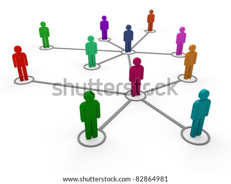 3d network team red blue green pink social - stock photo