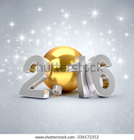 3D New Year 2016 concept with a gold christmas ball on sparking background