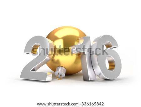 3D New Year 2016 greeting symbol with a gold christmas ball