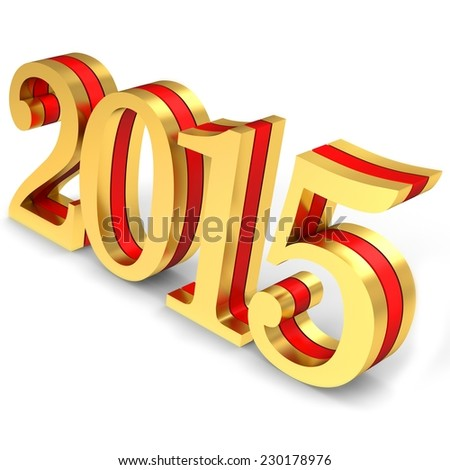 3d 2015 new year on white background - stock photo