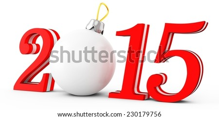 3d 2015 new year on white background