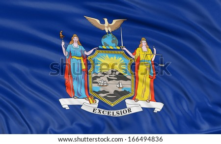 3D New York Flag - stock photo