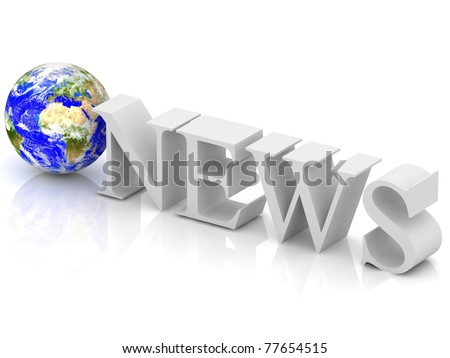 3d News text with globe.