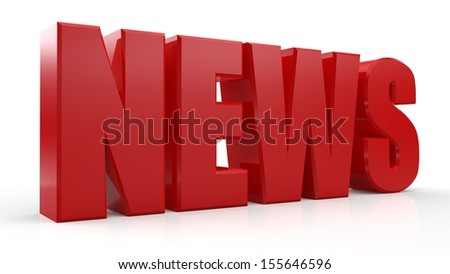 3D News word on white isolated background - stock photo