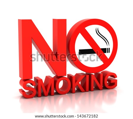 3d no smoking word on a white background - stock photo