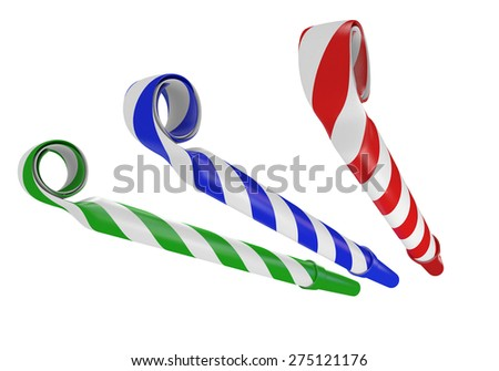 3D noisemaker paper horns for birthday parties and celebrations - stock photo