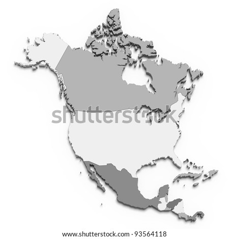 3d north america map on white - stock photo