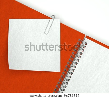 3d note paper in open notebook - stock photo