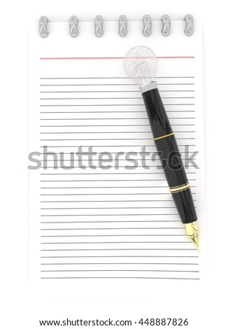 3d notepad and a pen , the pen representing as a visualizing pen concept in white isolated background