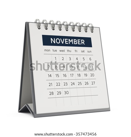 3d november desktop calendar with soft shadow isolated on white background