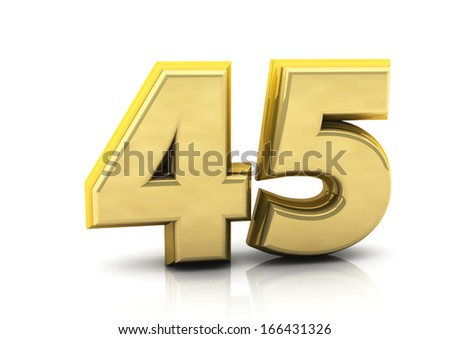 3d number forty five   in gold   - stock photo