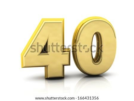 3d number forty gold  - stock photo