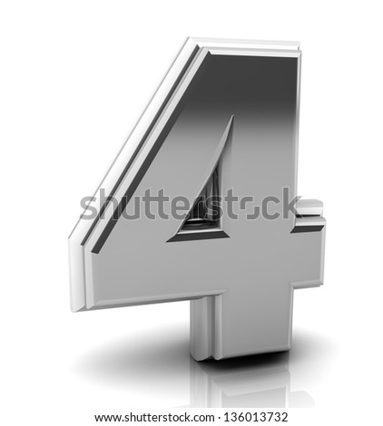 3d Number four  in silver on white background - stock photo