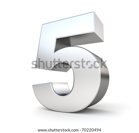 3d number 5 - from my metal number collection - stock photo