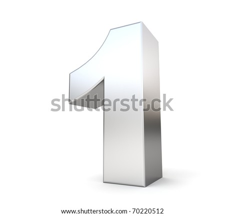 3d number 1 - from my metal number collection - stock photo