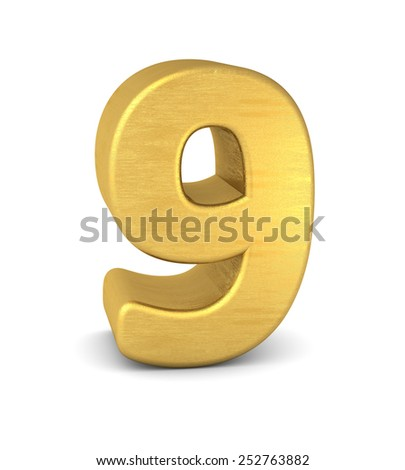 3d number 9 gold - stock photo