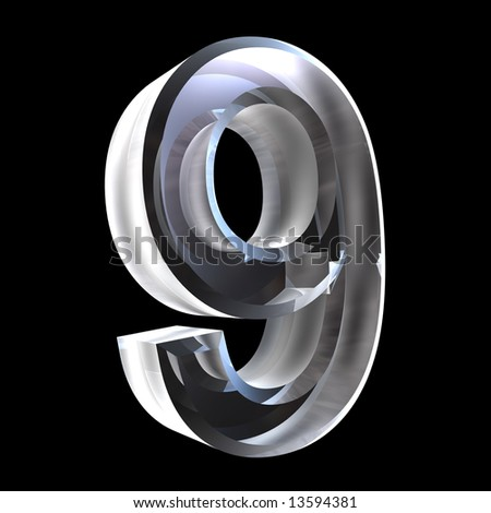 3d number 9 in glass - stock photo