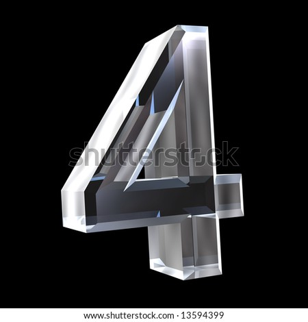 3d number 4 in glass - stock photo