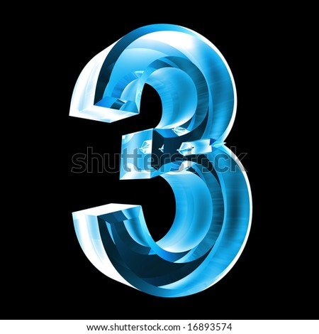 3d number 3 in glass - stock photo