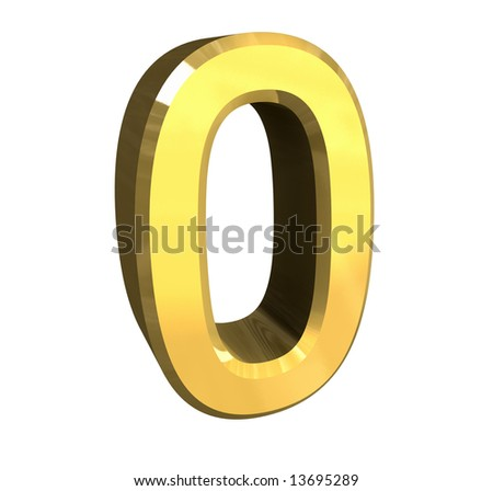 3d number 0 in gold - stock photo