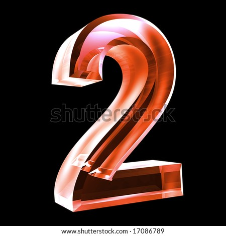 3d number 2 in red glass - stock photo